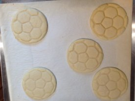 Baked soccer ball cookies