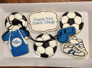 Completed soccer cookies