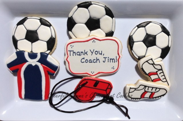Soccer Cookies by Cheerful Momma's Custom Art Cookies
