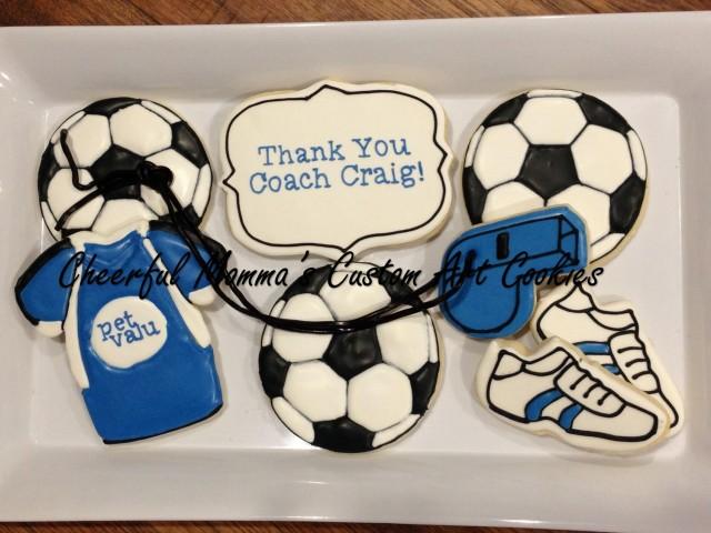 Soccer Cookies by Cheerful Momma's Custom Art Cookies