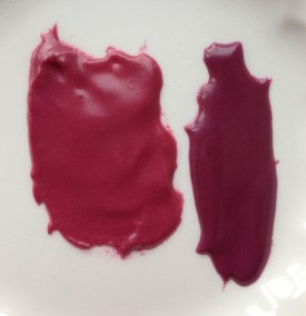 AmeriColor Burgundy on left, custom blend on right