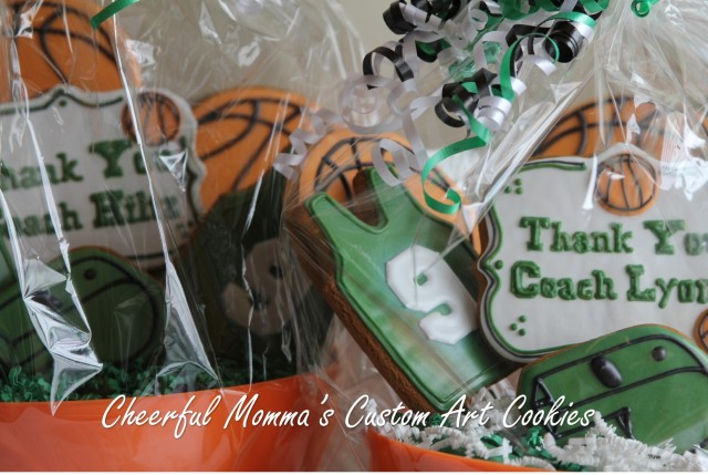 Basketball Cookie Bouquet Close Up by Cheerful Momma's Custom Art Cookies
