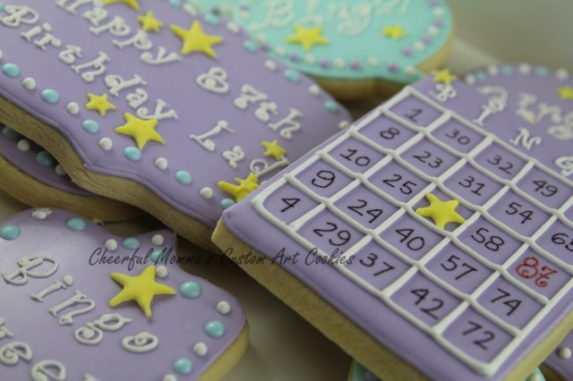 Bingo Birthday Cookies by Cheerful Momma's Custom Art Cookies