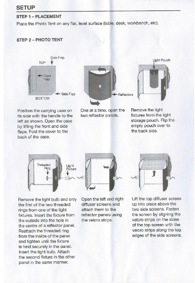Optex Photo and Lighting Studio Instructions page 2