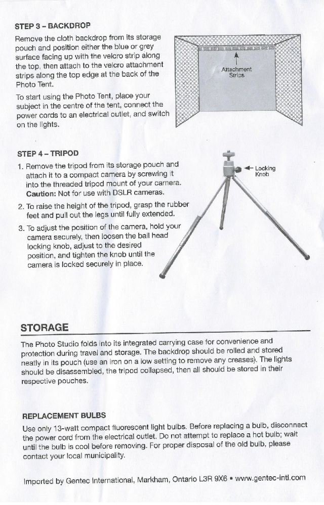 Optex Photo and Lighting Studio Instructions page 3