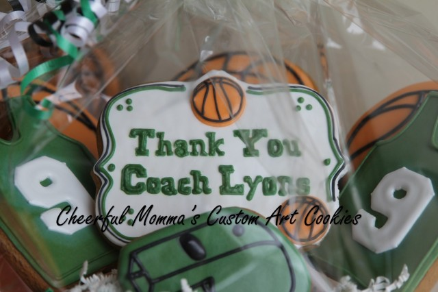 Thank You Basketball Coach Cookies by Cheerful Momma's Custom Art Cookies