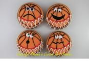 Cartoon Basketballs by Cheerful Momma's Custom Art Cookies