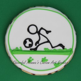 Dribbling soccer stick figure cookie