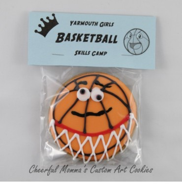 Packaged Cartoon Basketball Cookie by Cheerful Momma's Custom Art Cookies. Front