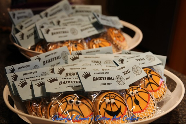 Packaged Cartoon Basketball Cookie by Cheerful Momma's Custom Art Cookies. Tray
