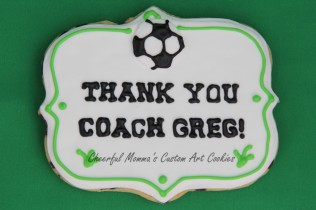 Soccer thank you plaque cookie