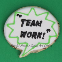 Team work speech bubble cookie