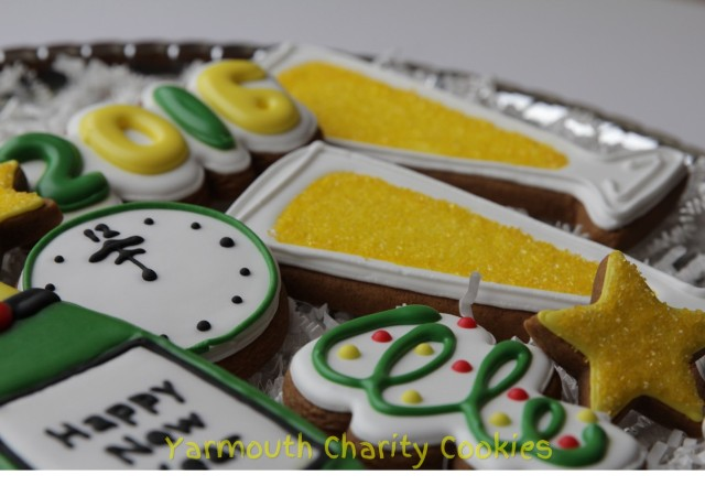 Close up New Year's Eve Cookies by CheerfulMomma's Custom Art Cookies