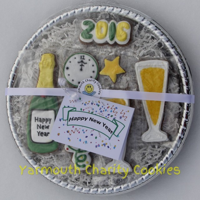 Packaged Set New Year's Eve Cookies by CheerfulMomma's Custom Art Cookies