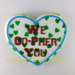 Heart Gopher Slogan Cookie 1 by Yarmouth Charity Cookies