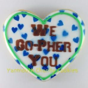 Heart Gopher Slogan Cookie 2 by Yarmouth Charity Cookies