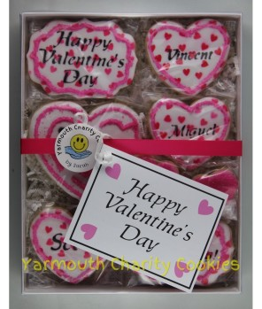 Packaged Valentine's Day Cookie Set (alternate layout) by Yarmouth Charity Cookies