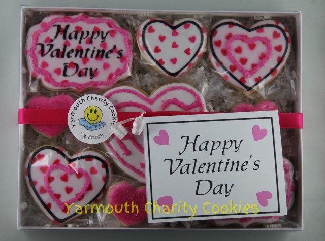 Packaged Valentine's Day Cookie Set (original layout plan) by Yarmouth Charity Cookies
