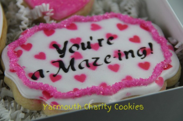 Valentine's Day Plaque Cookie by Yarmouth Charity Cookies